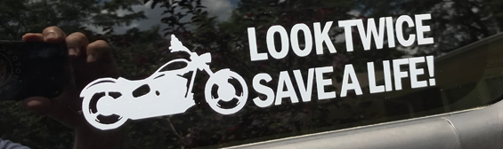 Look Twice Save A Life decal for sale!