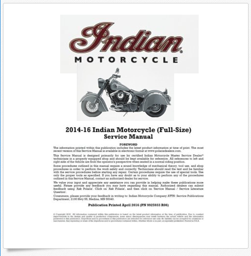 2014-2016 Indian Motorcycle Service Manual